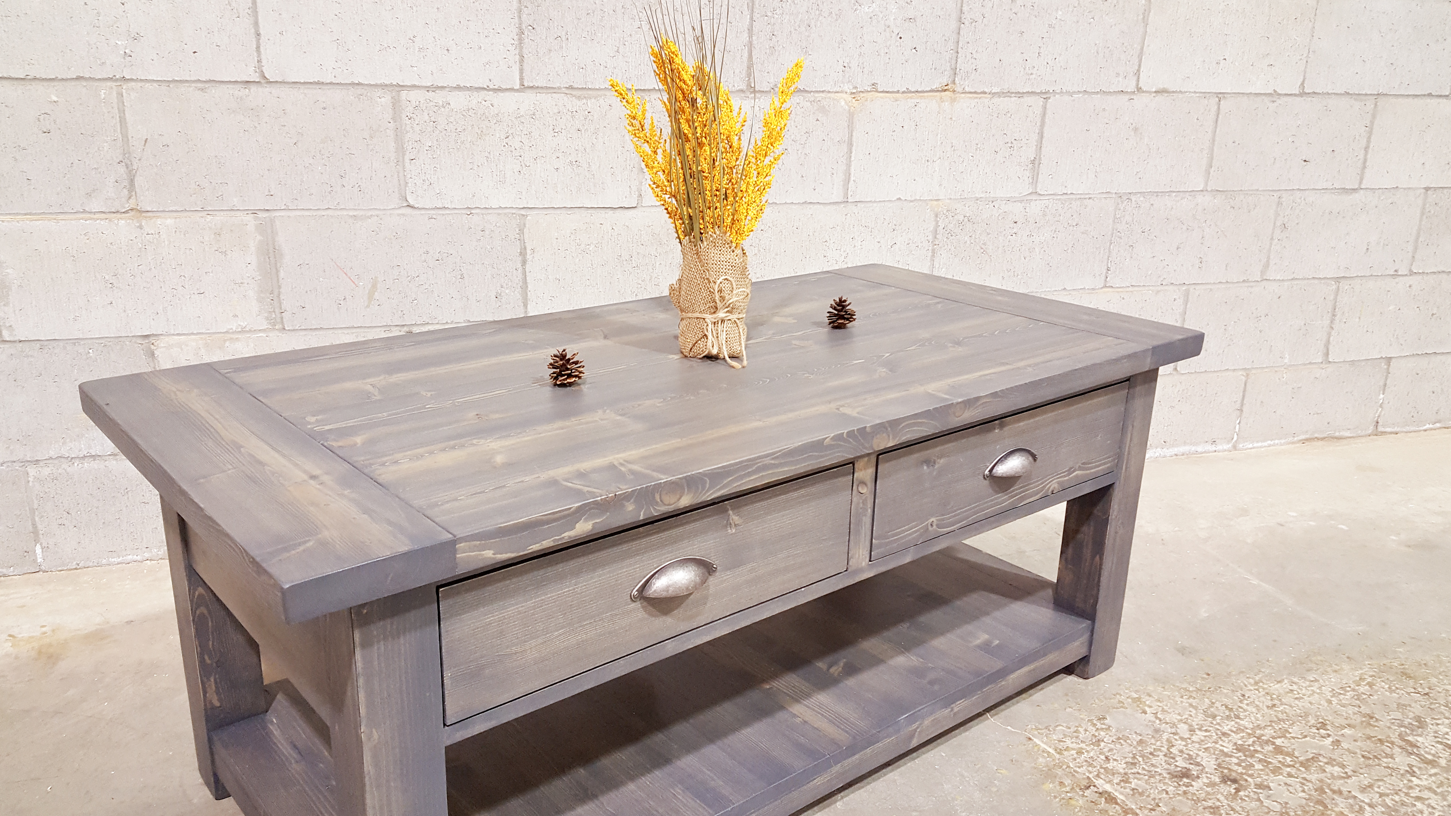 Solid Wood Coffee Table W/Drawers